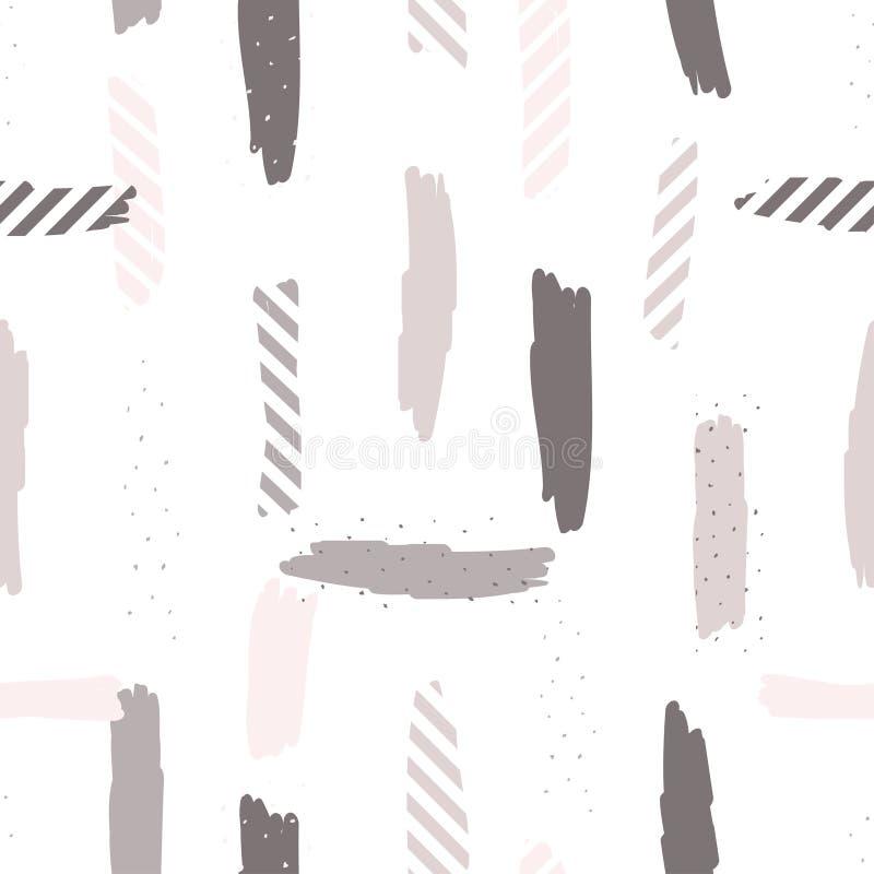 Sömlös upprepande modell med borsteslaglängder i pastellfärgade rosa färger, lilor och pricktextur på vit bakgrund Idérikt och mo stock illustrationer