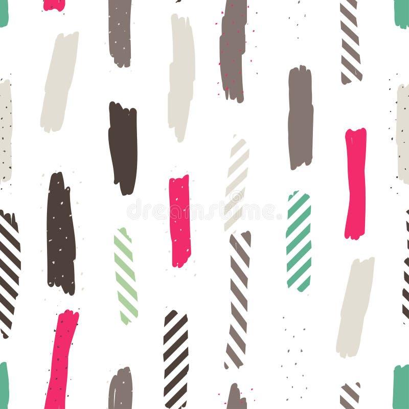 Sömlös upprepande modell med borsteslaglängder i pastellfärgade rosa färger, mintkaramellgräsplan, lilor och pricktextur på vit b stock illustrationer