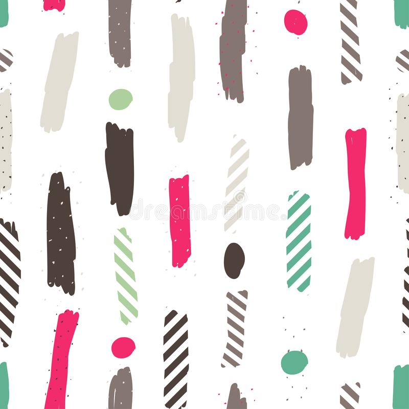 Sömlös upprepande modell med borsteslaglängder i pastellfärgade rosa färger, mintkaramellgräsplan, lilor och pricktextur på vit b royaltyfri illustrationer