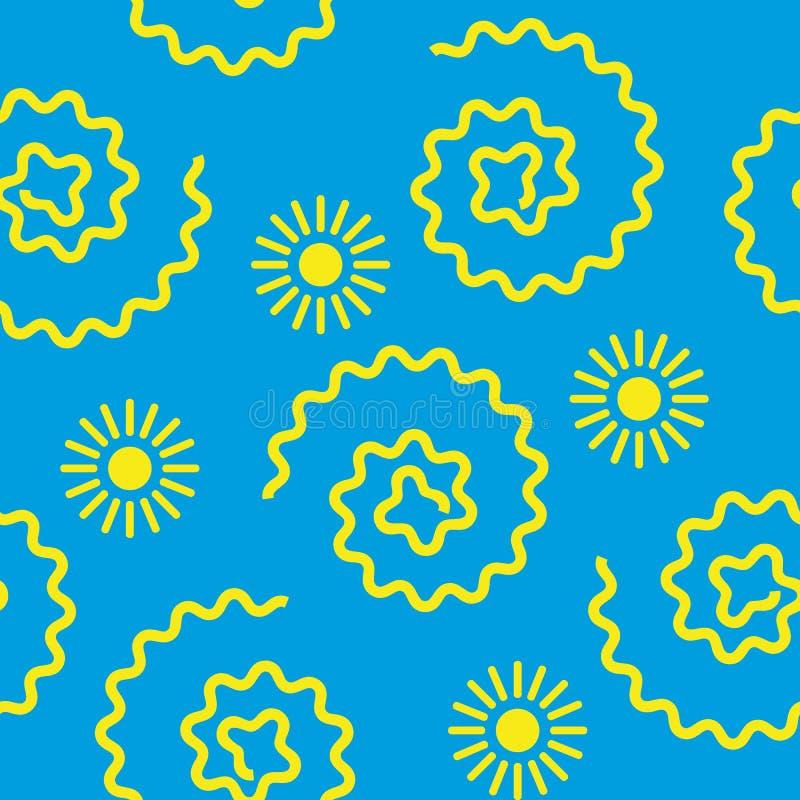 Sömlös upprepande sol för modell för illustrationbarn` s stock illustrationer