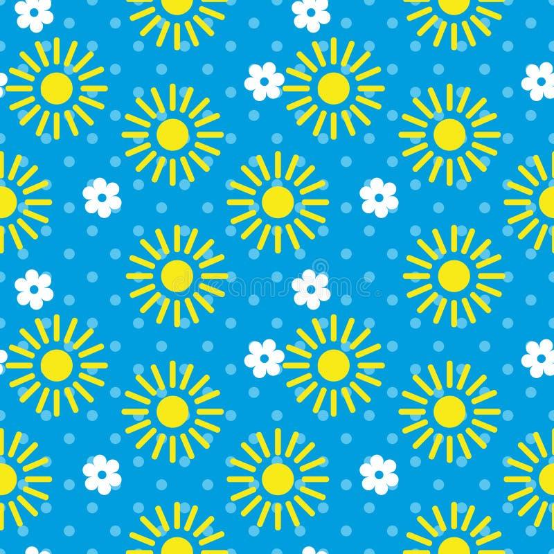 Sömlös upprepande sol och blommor för modell för illustrationbarn` s royaltyfri illustrationer
