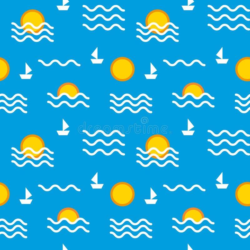 Sömlös upprepande sol och hav för modell för illustrationbarn` s stock illustrationer