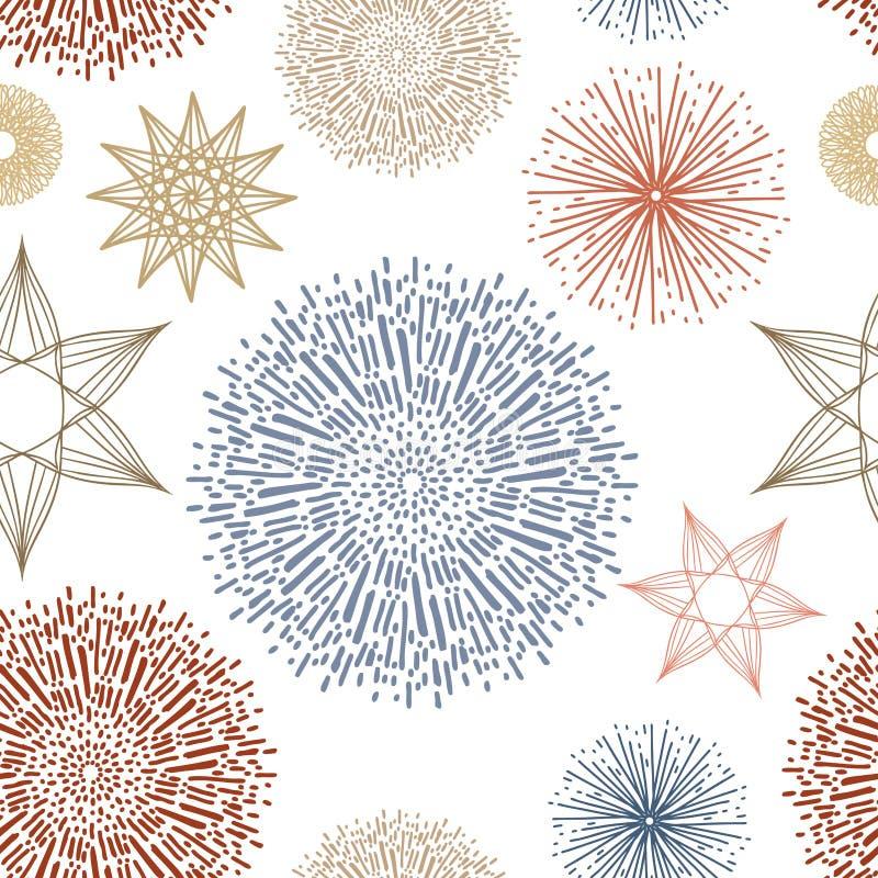 Sömlös upprepande tapetmodellvektor, stjärnor och abstrakta klottersunbursts eller starbursts i röd blå gul guld och apelsin royaltyfri illustrationer