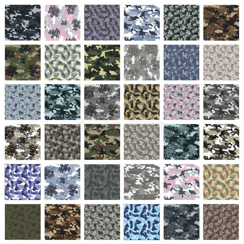 Sömlös uppsättning av kamouflagemodellvektorn stock illustrationer