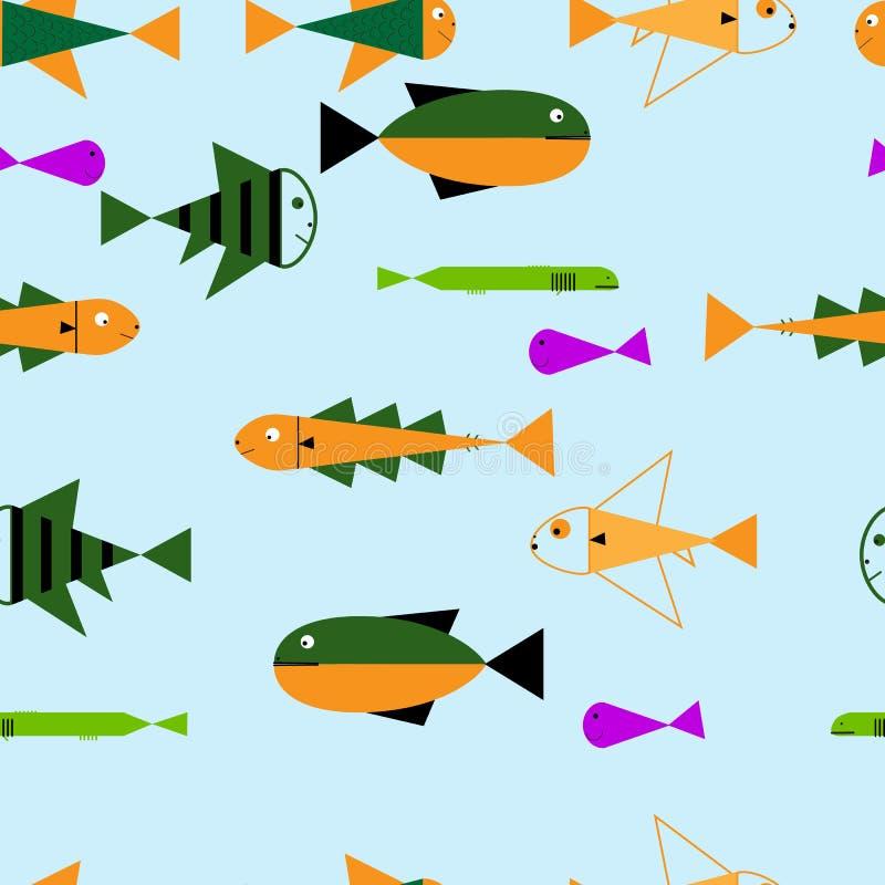 Sömlös uppsättning för symbol för havslopp, undervattens- dykningdjur - tropisk fisk Mall för vektorillustrationabstrakt begrepp vektor illustrationer