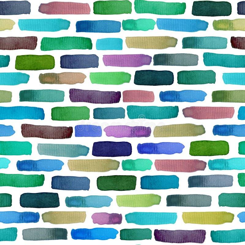 Sömlös väggmodell med vattenfärgtegelstenar, ljus bakgrund stock illustrationer
