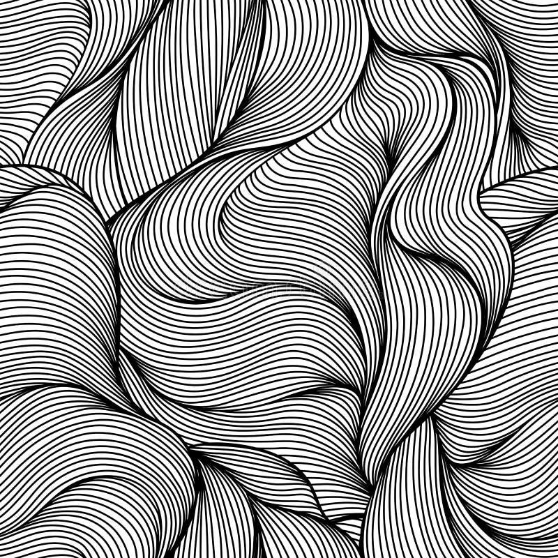 Sömlös våghårlinje modell royaltyfri illustrationer