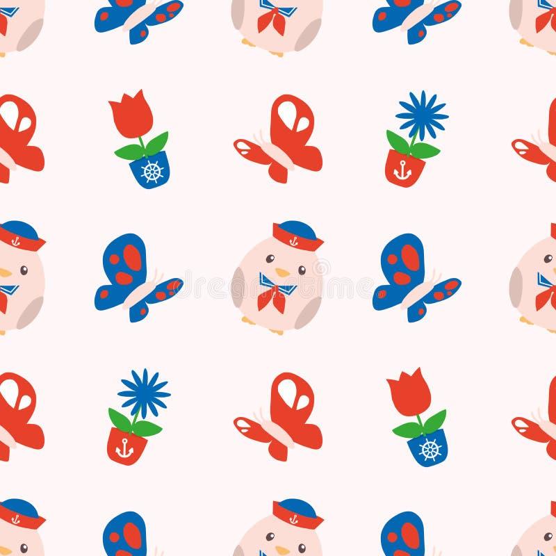 Sömlös vårmodell med gulliga röda och blåa maritima knubbiga fågelungar, fjärilar och vårblommor på vit bakgrund royaltyfri illustrationer