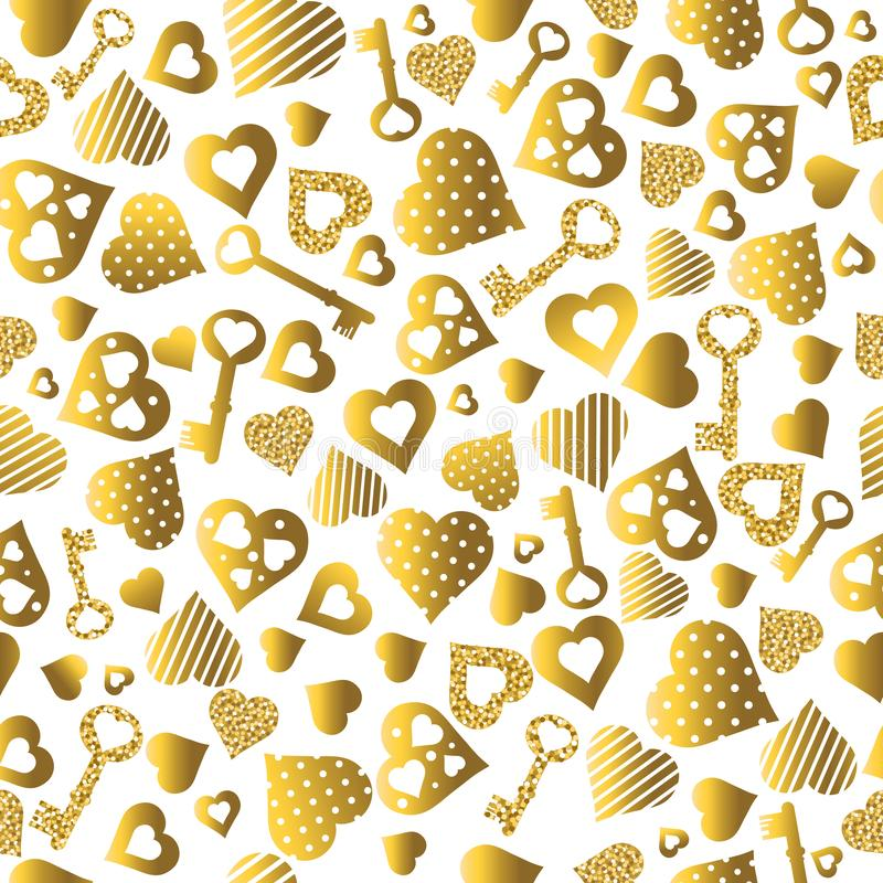 Sömlös valentinmodell med guld- blänka hjärtor och tangenter seamless guldmodell Repeatable valentindagdesign kunna vektor illustrationer