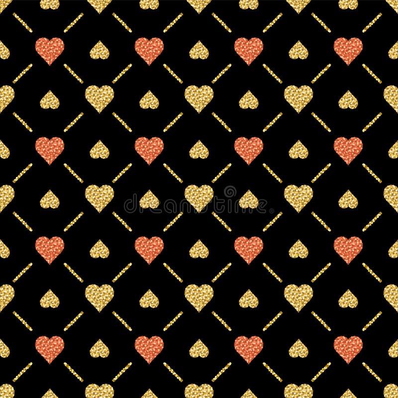 Sömlös valentinmodell med guld- blänka hjärtor på svart bakgrund Repeatable valentindagdesign kan användas för royaltyfri illustrationer