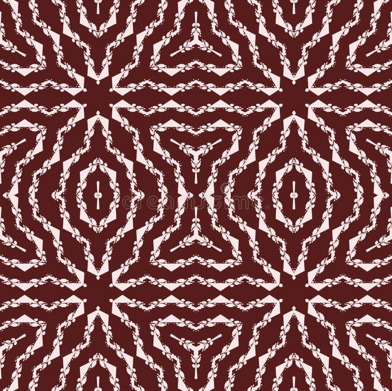 Sömlös vanlig vit för stjärnamodell på mörk brunt vektor illustrationer