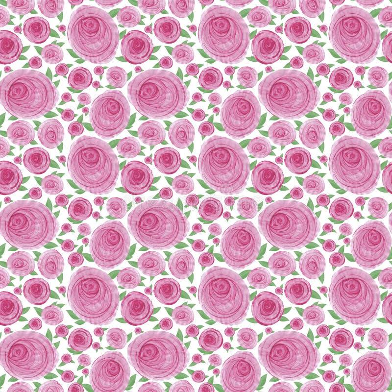 Sömlös vattenfärgbakgrund av rosa slaglängder i form av rosa blommor med sidor royaltyfri illustrationer