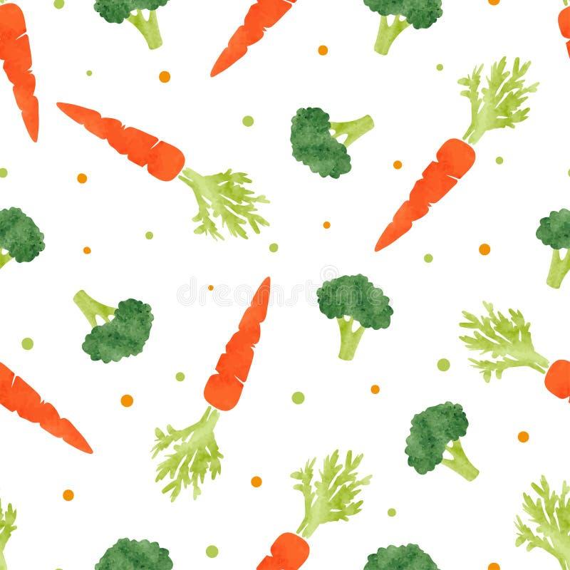 Sömlös vattenfärggrönsakmodell med broccoli och moroten royaltyfri illustrationer