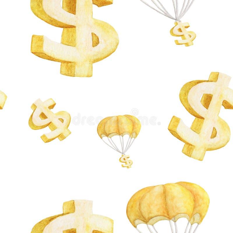 Sömlös vattenfärgillustration av guld- hoppa fallskärm för dollar och för dollartecken royaltyfri illustrationer