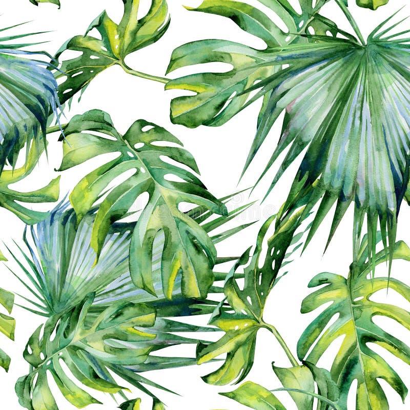 Sömlös vattenfärgillustration av tropiska sidor arkivfoton
