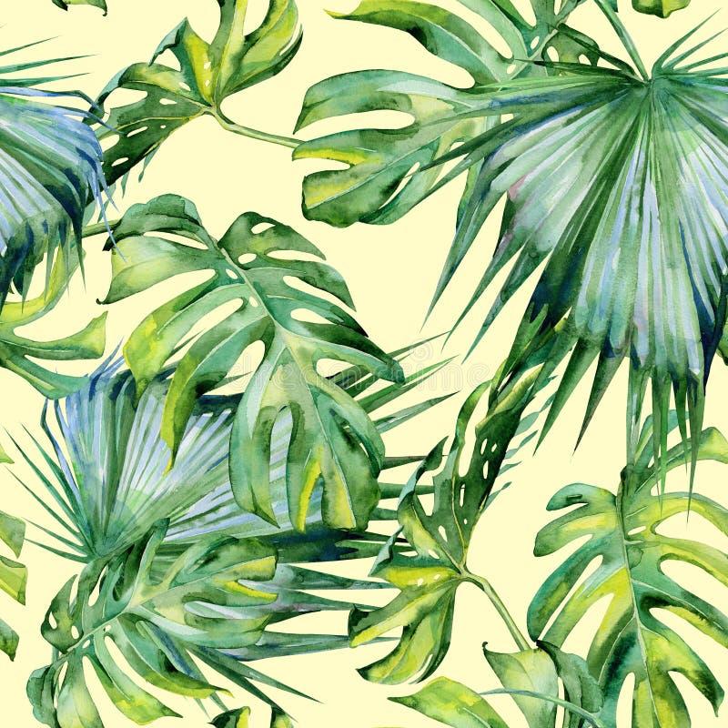 Sömlös vattenfärgillustration av tropiska sidor, tät djungel vektor illustrationer