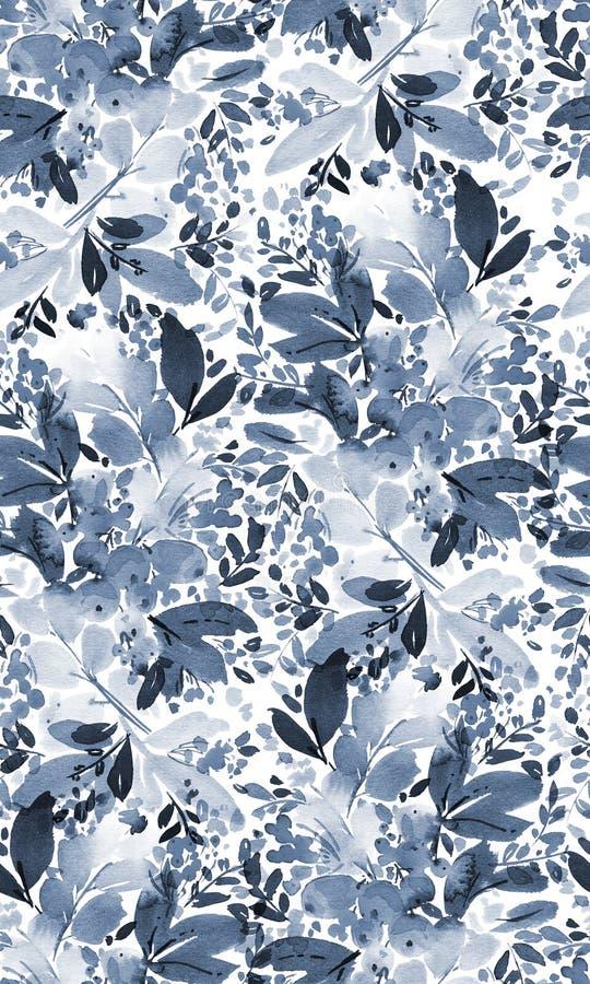Sömlös vattenfärgjulmodell stock illustrationer
