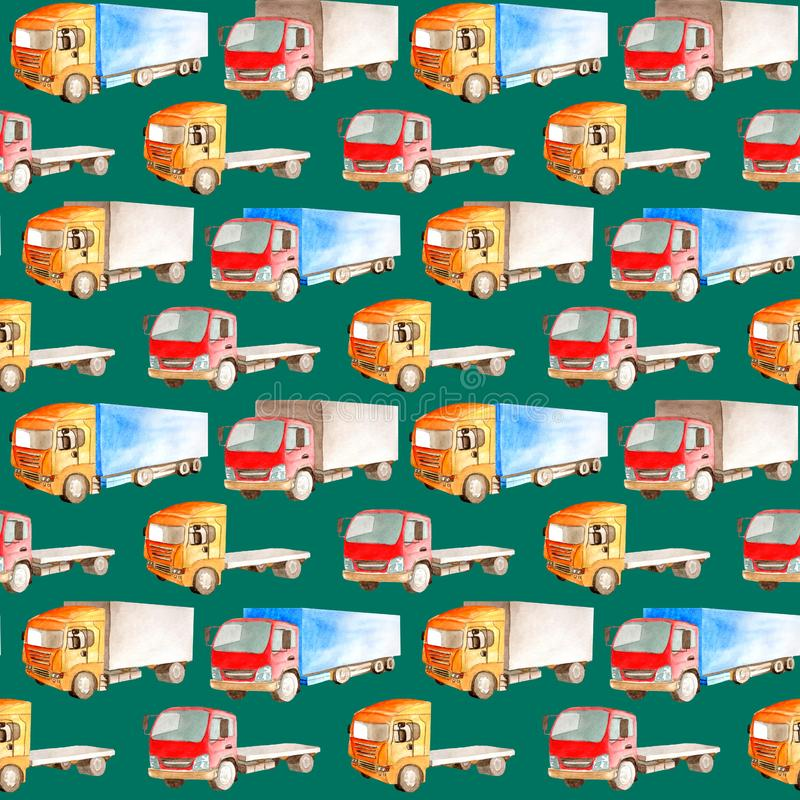 Sömlös vattenfärgmodell av lastbilar, lastbilar av olika färger, typer stock illustrationer