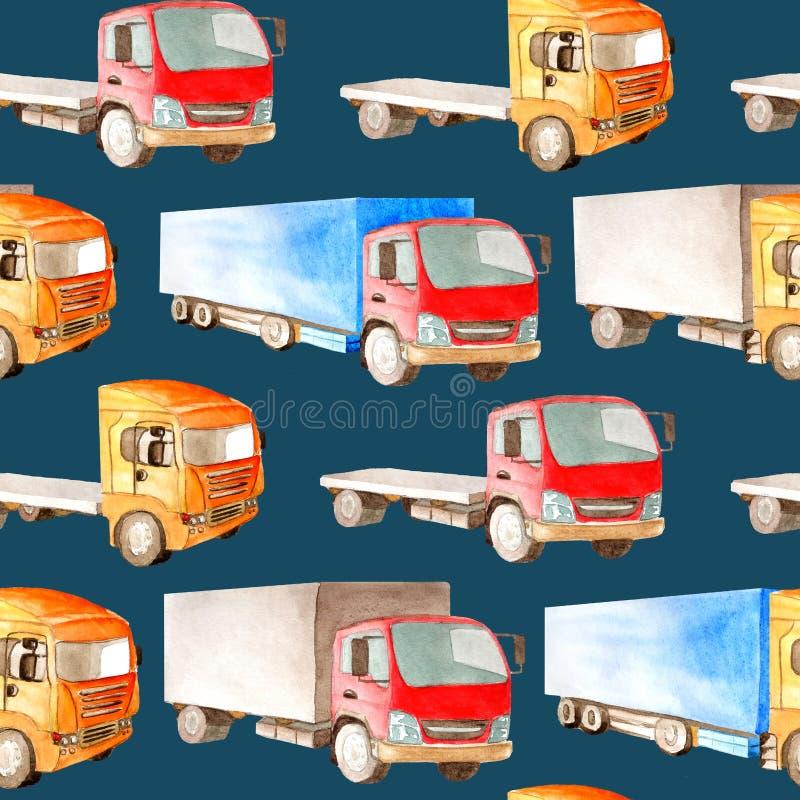 Sömlös vattenfärgmodell av lastbilar, lastbilar royaltyfri illustrationer