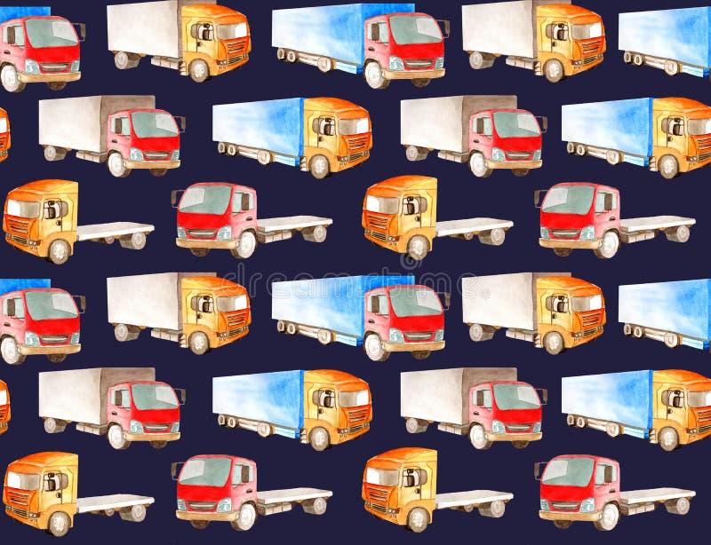 Sömlös vattenfärgmodell av lastbilar, lastbilar av olika färger, typer, vektor illustrationer