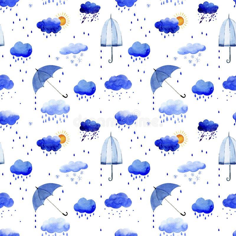 Sömlös vattenfärgmodell av regnmoln och paraplyer vektor illustrationer
