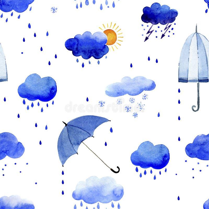 Sömlös vattenfärgmodell av regnmoln och paraplyer stock illustrationer
