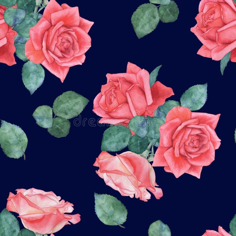 Sömlös vattenfärgmodell av rosor 9 vektor illustrationer