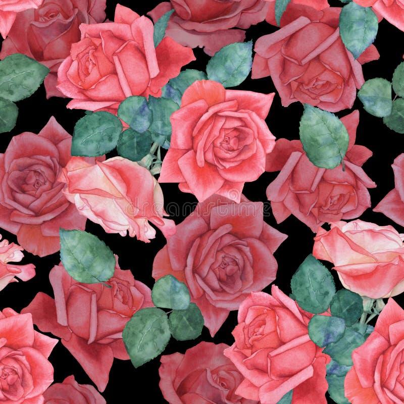 Sömlös vattenfärgmodell av rosor 11 stock illustrationer