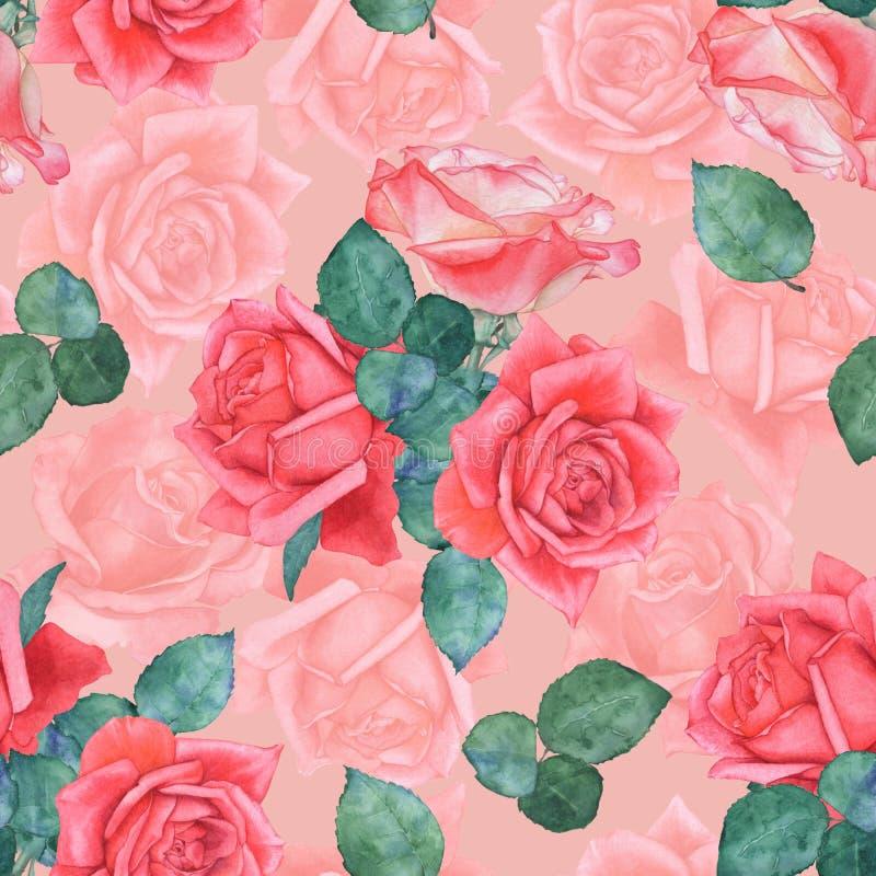 Sömlös vattenfärgmodell av rosor 2 teckningen hand henne morgonunderkl?der upp varmt kvinnabarn royaltyfri illustrationer