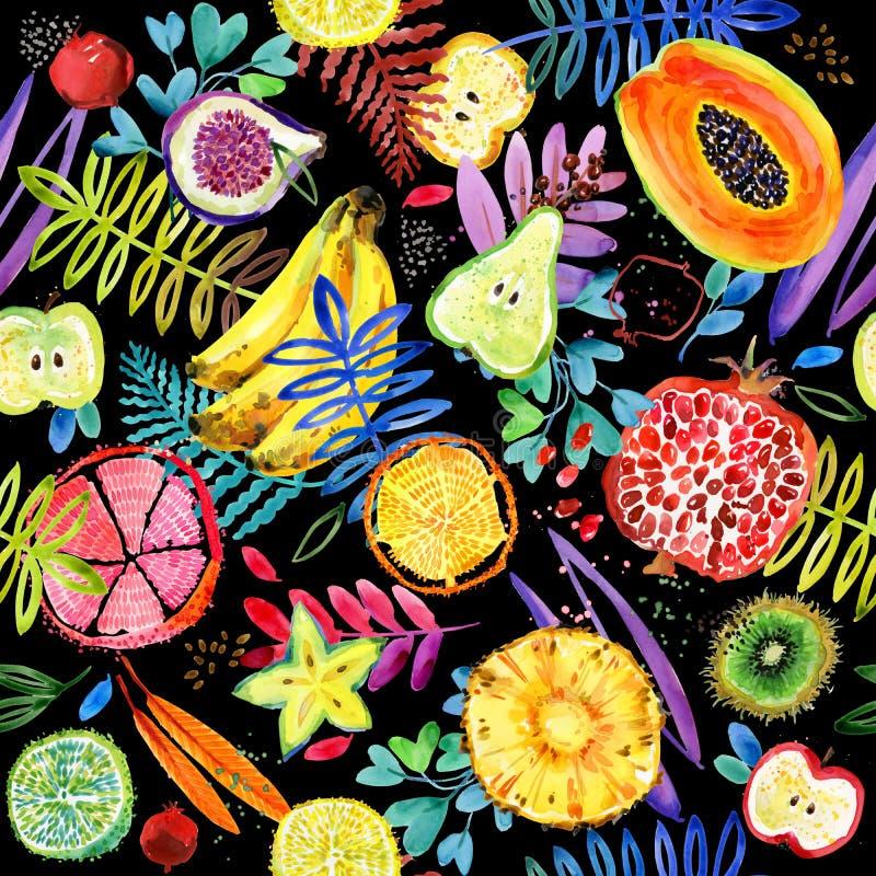 Sömlös vattenfärgmodell av tropisk trädgårds- frukt bakgrund för djungelnaturväxt royaltyfri illustrationer