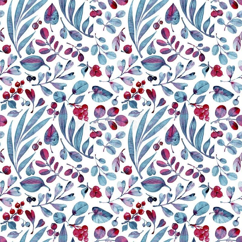 Sömlös vattenfärgmodell Differend blått och rosa färgsidor och bär på vit bakgrund stock illustrationer