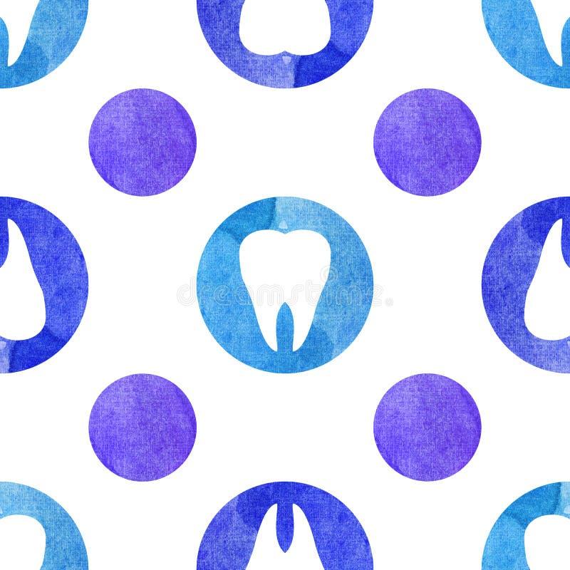 Sömlös vattenfärgmodell för blåa tänder royaltyfri illustrationer