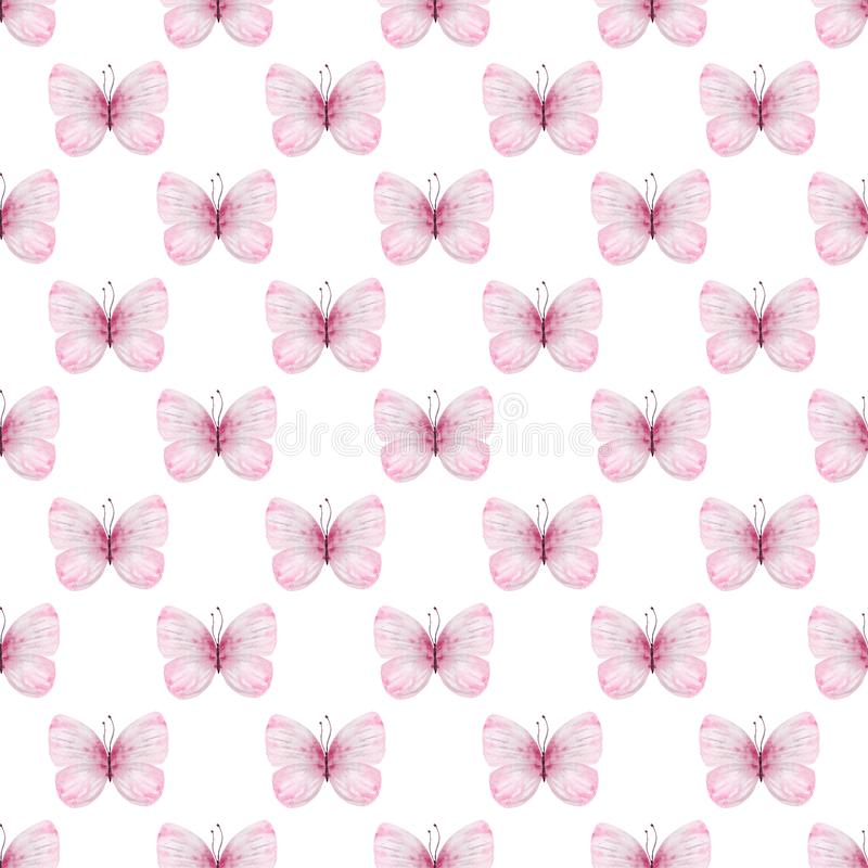 Sömlös vattenfärgmodell för gulliga fjärilar stock illustrationer