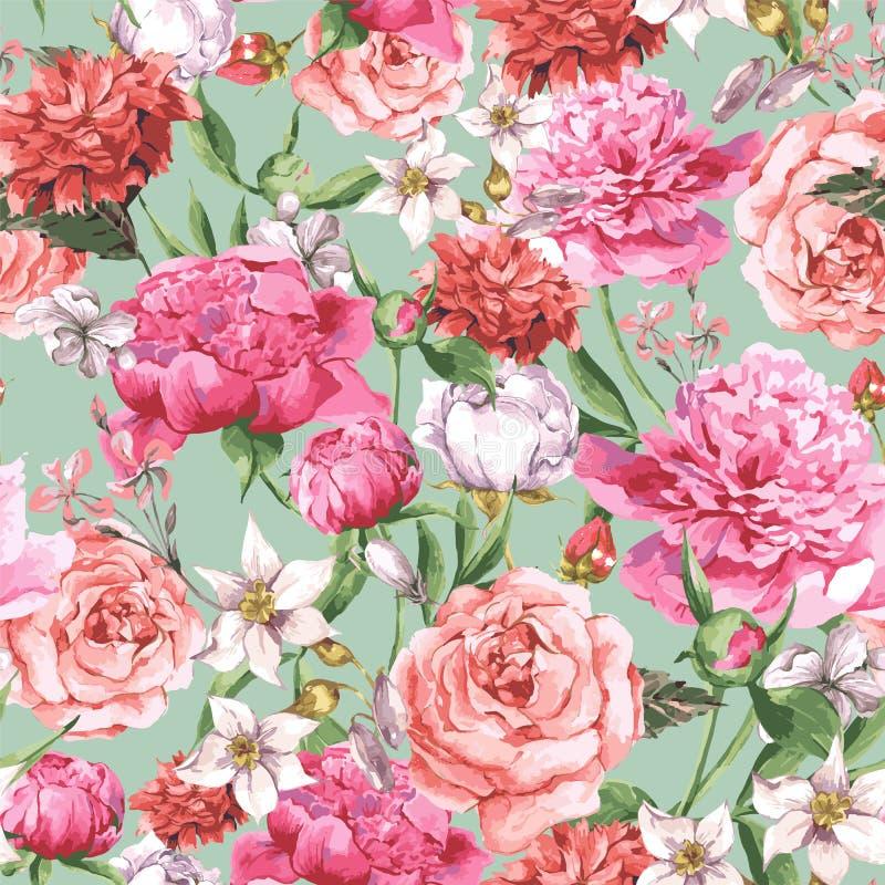 Sömlös vattenfärgmodell för sommar med rosa färger vektor illustrationer
