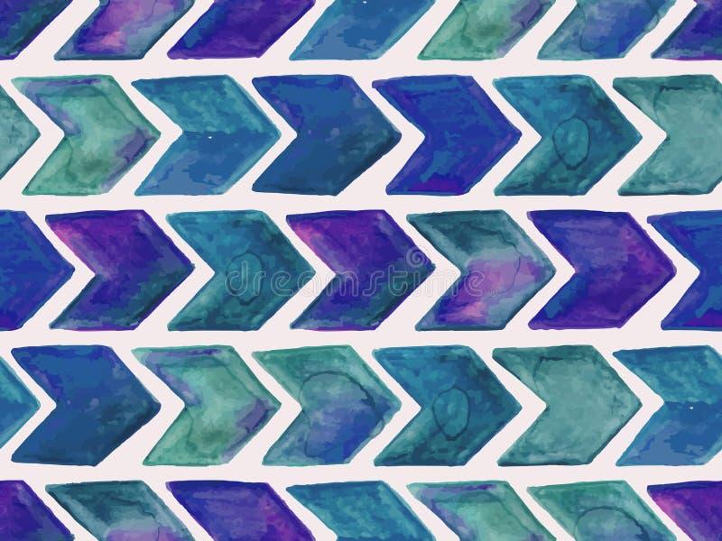 Sömlös vattenfärgmodell för vektor med pilar royaltyfri illustrationer