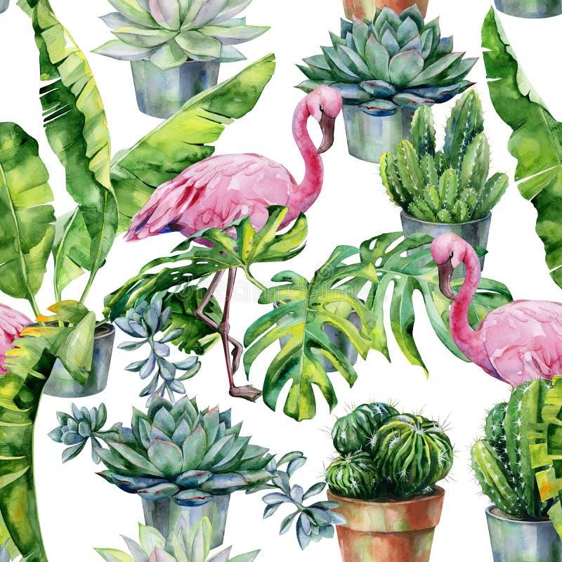 Sömlös vattenfärgmodell med flamingo och kaktus och suckulenter i krukor royaltyfri illustrationer