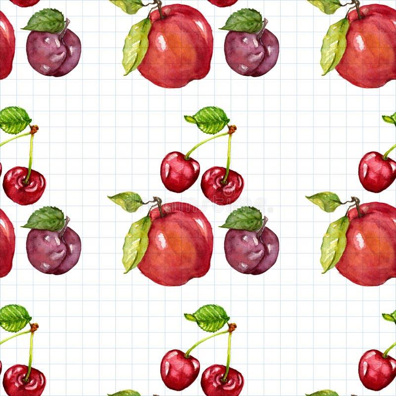 Sömlös vattenfärgmodell med frukter stock illustrationer
