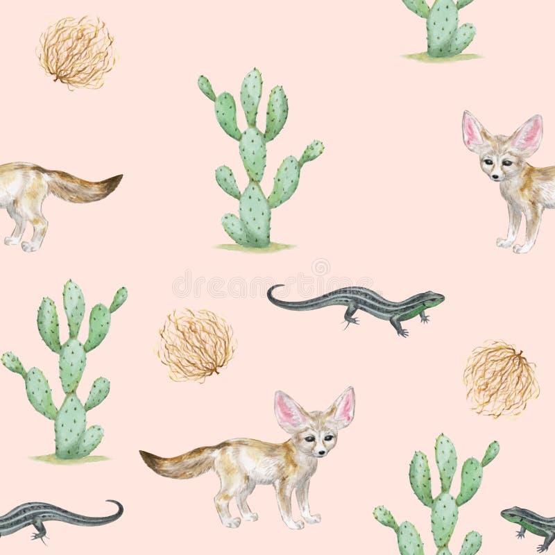 Sömlös vattenfärgmodell med kaktuns, fennecräven, ödlan och marklöparen fotografering för bildbyråer