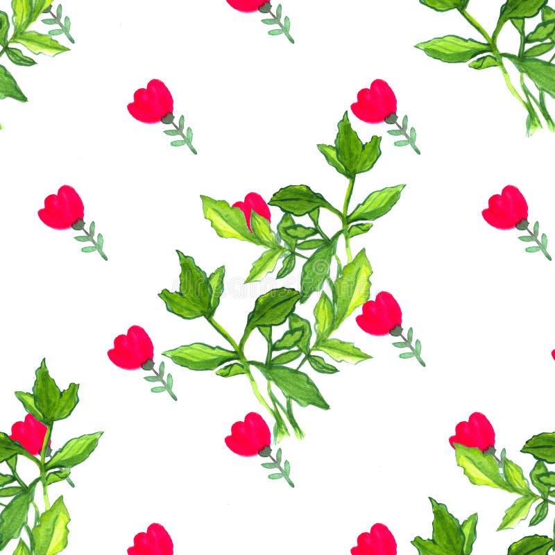 Sömlös vattenfärgmodell med röda blommor och gröna sidor Botanisk textur som wish f?r blom- scroll f?r f?rgdesignelement vectoriz royaltyfri illustrationer