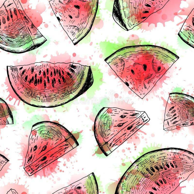 Sömlös vattenfärgmodell med vattenmelon Det kan vara nödvändigt för kapacitet av designarbete vektor illustrationer