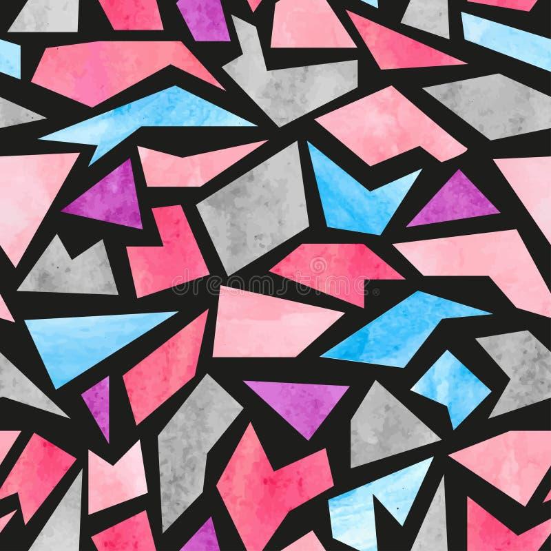 Sömlös vattenfärgmosaikmodell f?rgrik vektor f?r abstrakt bakgrund vektor illustrationer
