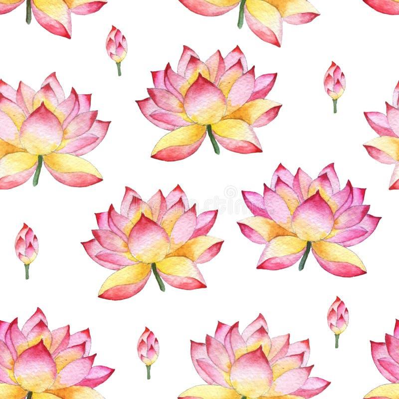 Sömlös vattenfärgprydnad med lotusblommablommor vektor illustrationer
