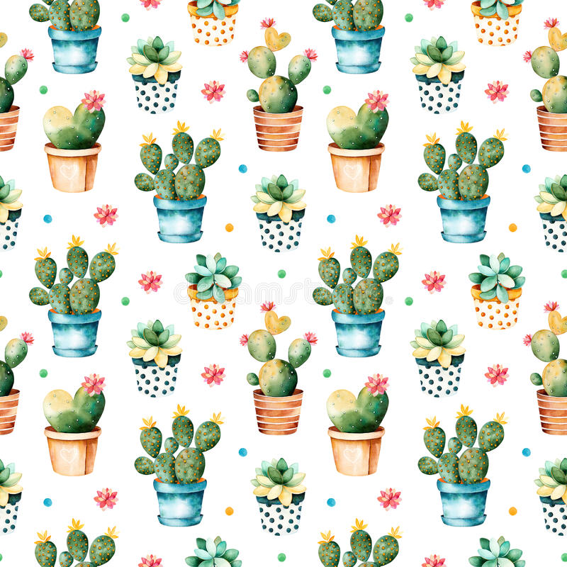 Sömlös vattenfärgtextur med kaktusväxten och den suckulenta växten i kruka vektor illustrationer