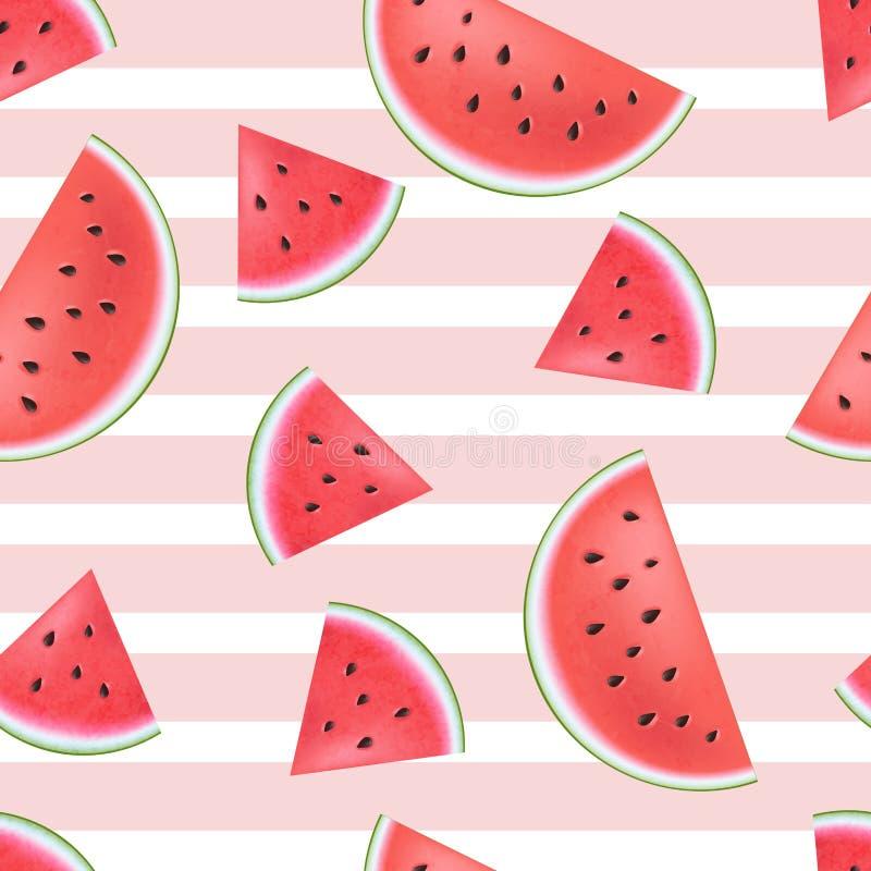 Sömlös vattenmelonmodell med band stock illustrationer