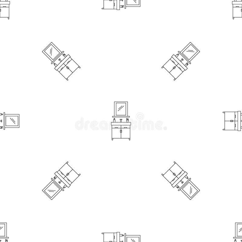 Sömlös vektor för badrumspegelmodell stock illustrationer