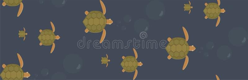 Sömlös vektor för simninghavssköldpaddor arkivfoto