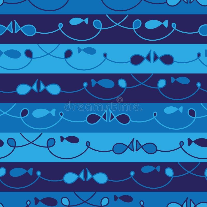 Sömlös vektor som fiskar den themed randiga blåa modellen vektor illustrationer