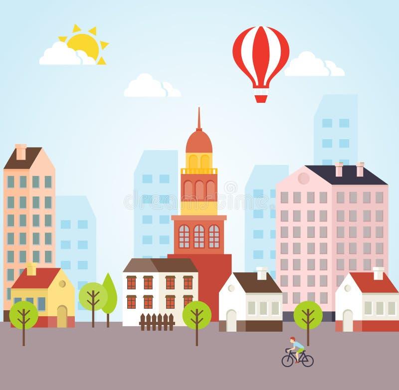 Sömlös vektor Sunny Town Landscape Background stock illustrationer