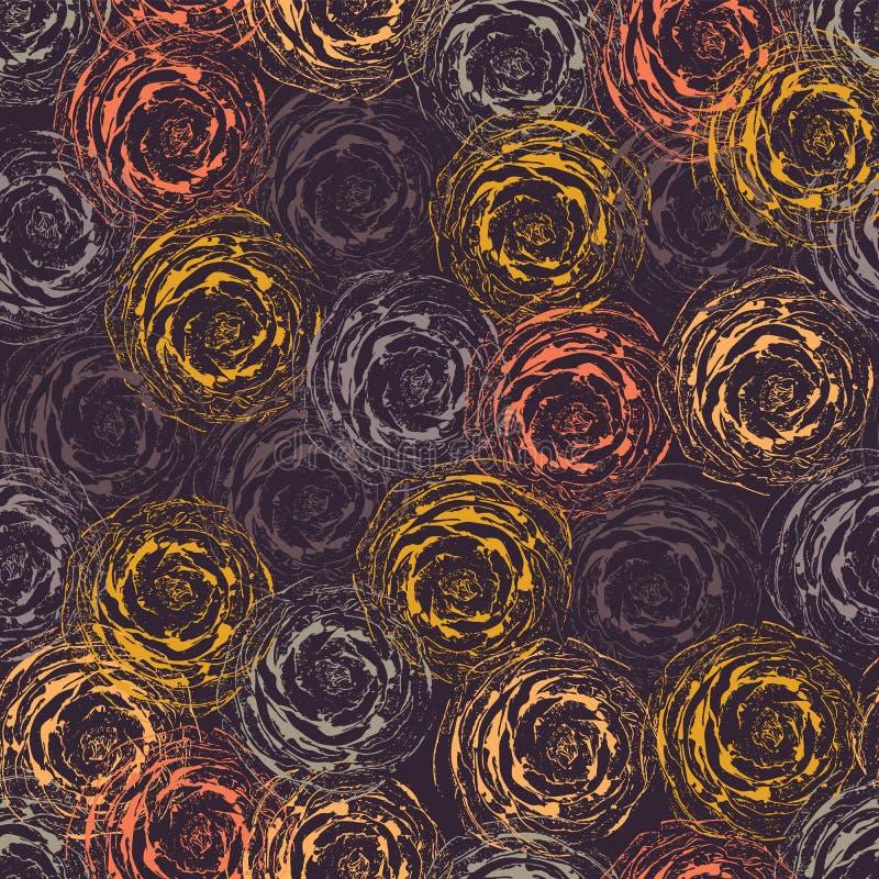 Sömlös vektorbakgrund för abstrakta rosor purpurt orane rosa blommor Modern blom- modell i höstfärger för tyg, royaltyfri illustrationer