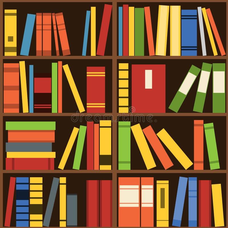 Sömlös vektorbakgrund för bokhyllor stock illustrationer